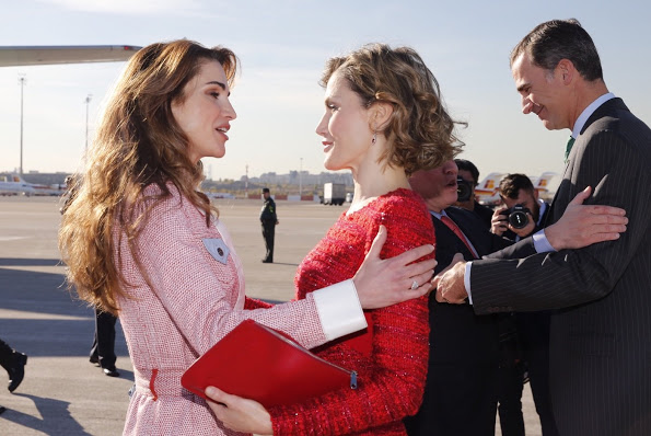 King Felipe And Queen Letizia Received Jordan Royals At Madrid Airport