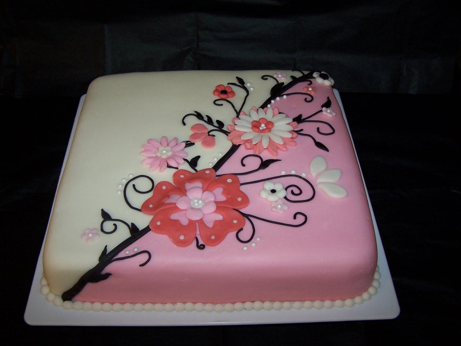 Images Of Square Birthday Cake : Edee s Custom Cakes: Flowers Birthday