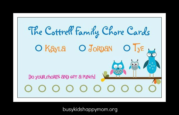 Diy fancy chore card using business cards busy kids happy mom front childrens names and spots for punches at the bottom you could punch with a hole punch stamp it or mark it with a special mom pen colourmoves