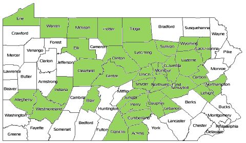 The Pennsylvania All Counties Challenge Geocaching - Pennsylvania counties map