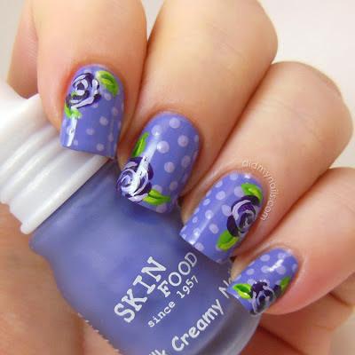 polka dots with floral nail art