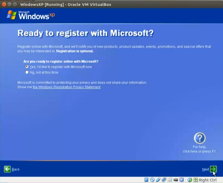 How to install windows xp in ubuntu virtualbox step by step for 21 register the system with microsoft ccuart Image collections