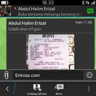 Konfirmasi pembayaran clutch bag oleh Halim/Yadi di enkosa sport toko online clutch bag terpercaya dan berkualitas