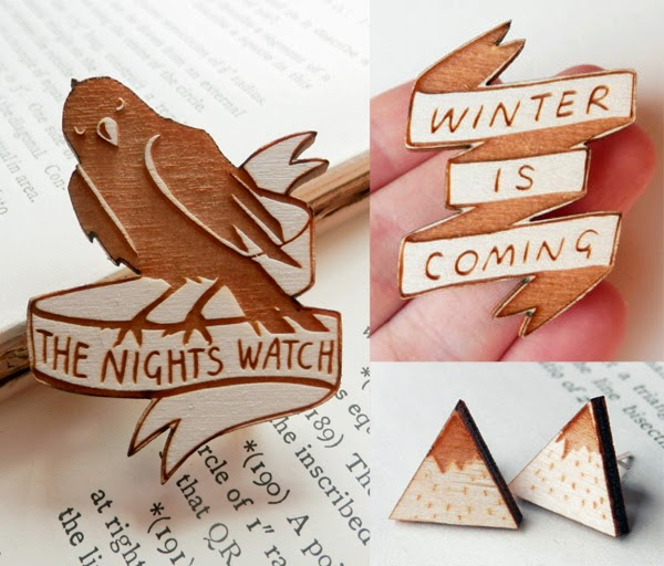 Awesome Pop Culture Wooden Jewellery by Kate Rowland.