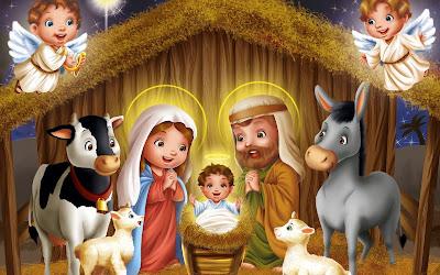 Nacimiento de Jesús en el pesebre en Noche buena y Navidad