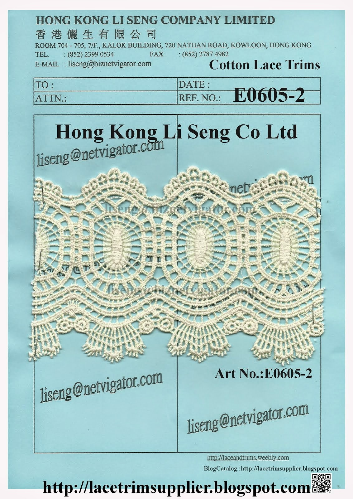Cotton Lace Trims Manufacturer - Hong Kong Li Seng Co Ltd