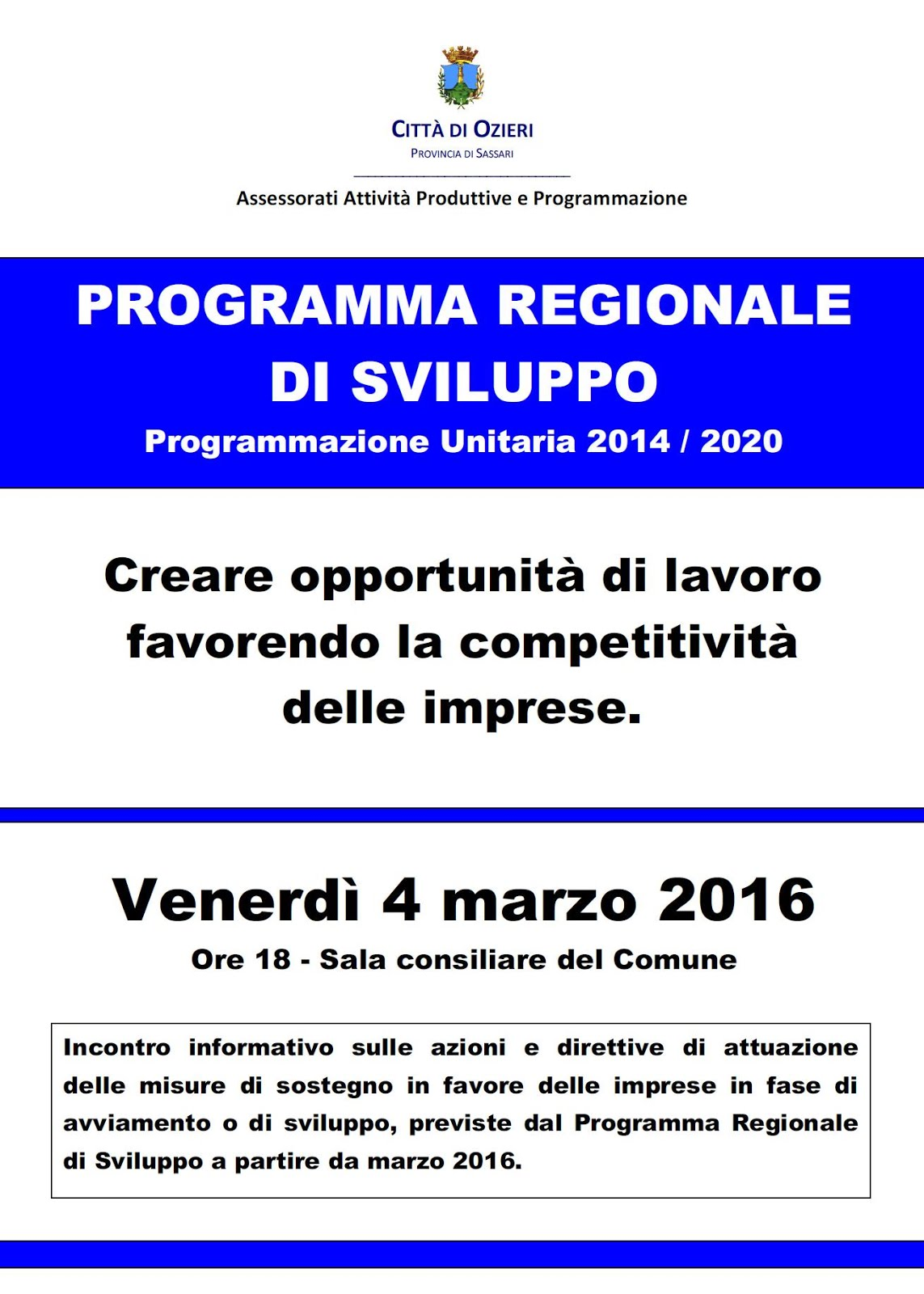 Locandina incontro informativo del 4 marzo 2016