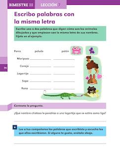 Apoyo Primaria Español 1er grado Bimestre 3 lección 7 Escribo palabras con la misma letra