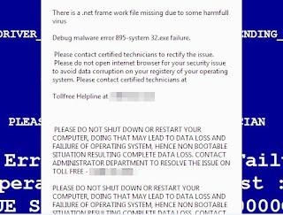 Debug malware error 895-system32.exe failure scam pop-up