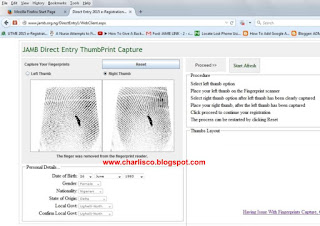 jamb direct entry finger print capture