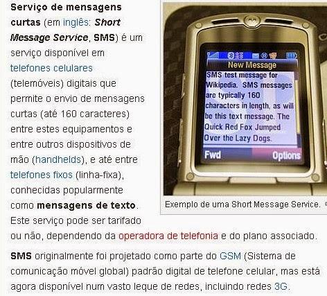 Definição de SMS na Wikipedia