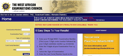 2013 MAY/JUNE WAEC RESULT RELEASED