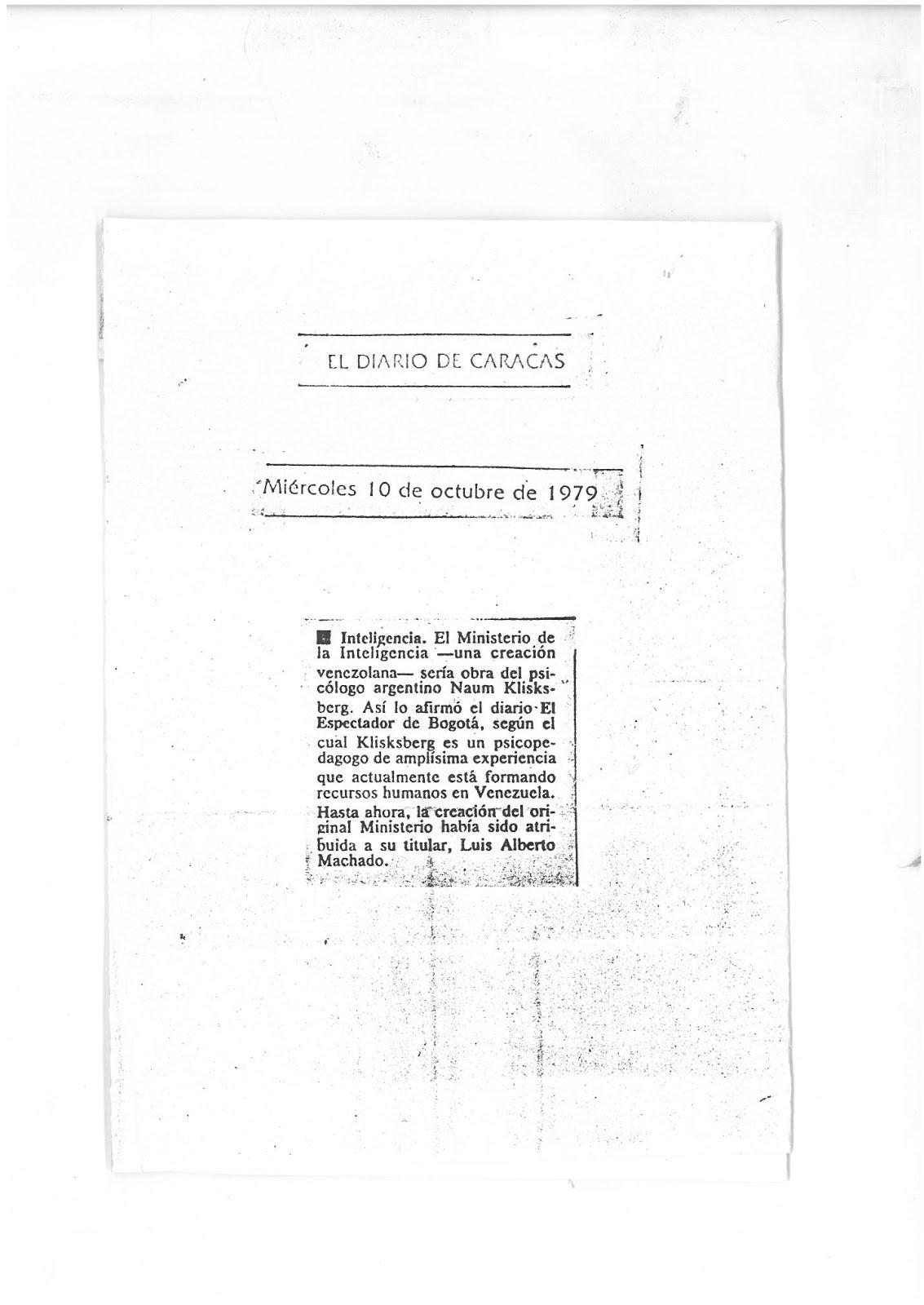 17 - PERIODICO  EL DIARIO DE CARACAS, VENEZUELA, 1010/1979, Artículo en