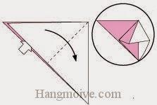 Bước 5: Từ vị trí mũi tên mở lớp trên tờ giấy ra, kéo và gấp tờ giấy về phía bên phải.