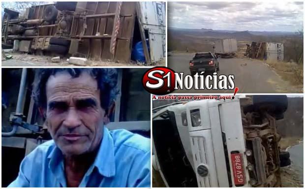 Caminhão tomba na Serra do Teixeira – PB.  Assista