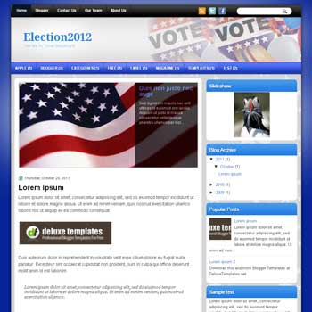 Election2012 blogger template. template blogspot magazine style. download political blogger template