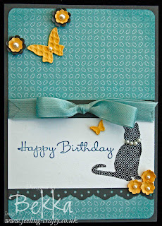 Stampin' Up! Patterned Pets Birthday Card for a Cat Lover by Bekka Prideaux www.feeling-crafty.co.uk