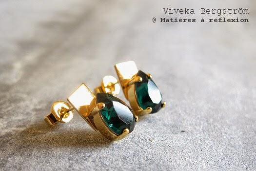 Boucles d'oreilles Viveka Bergstrom plaqué or/cristal émeraude