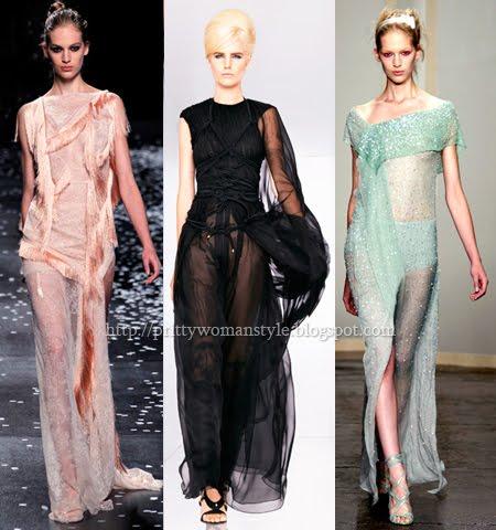 Дълги вечерни рокли от прозрачни материи
