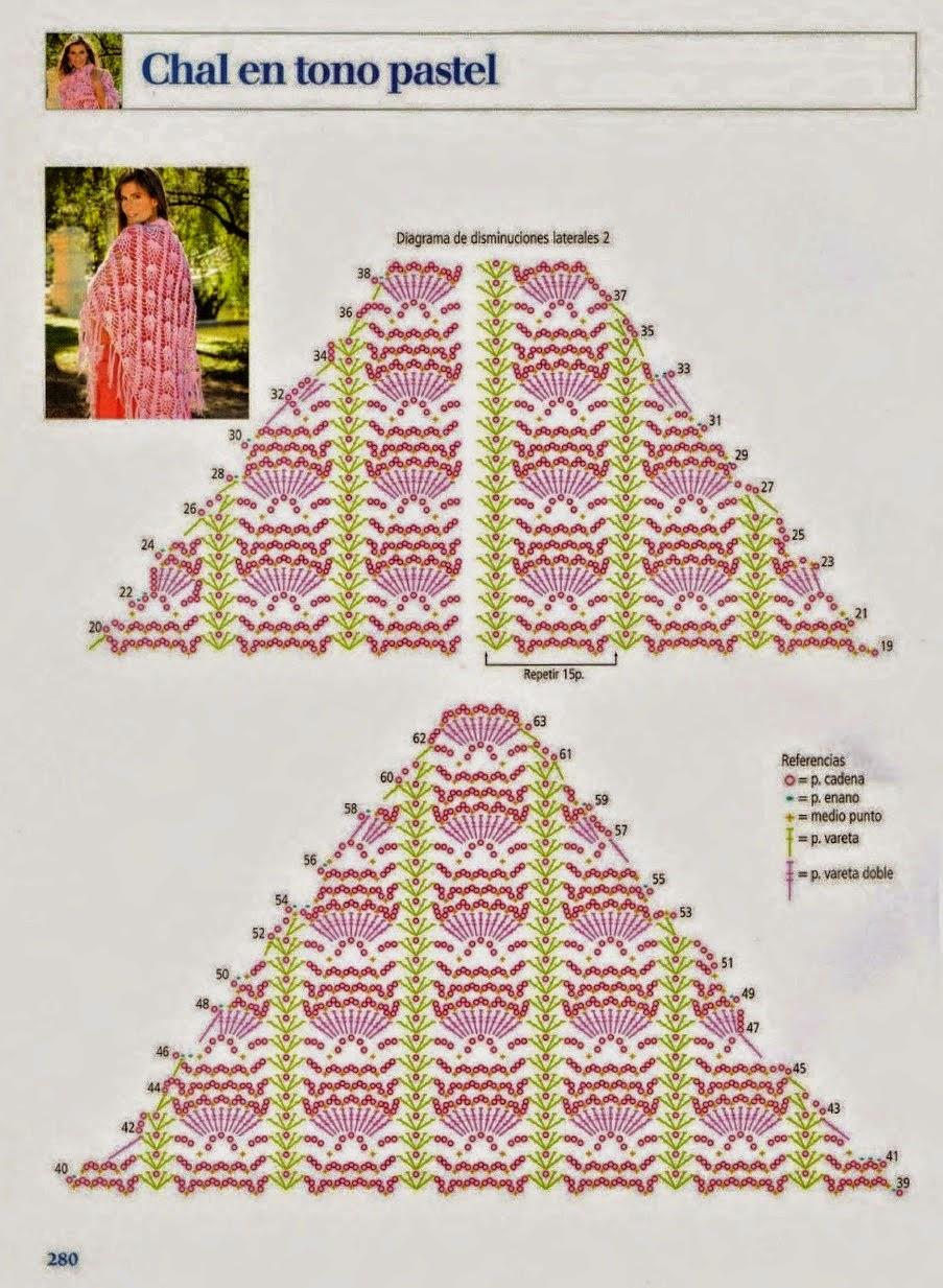 Patrón de Chal triangular primoroso al crochet