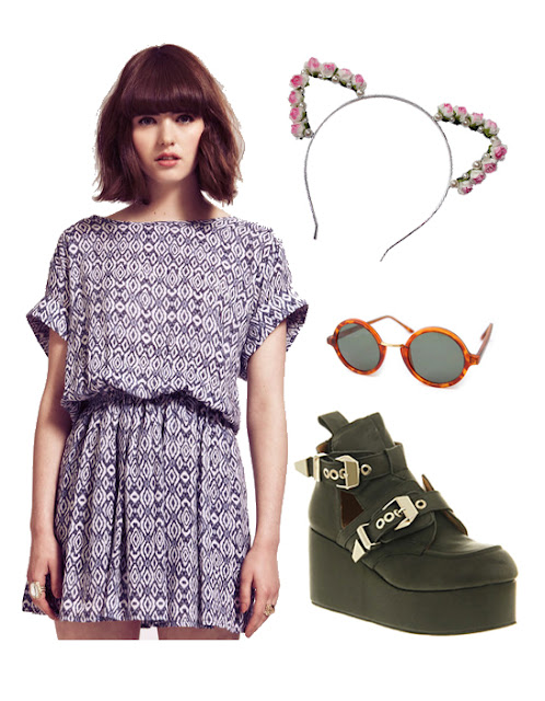 dahlia vanessa dress, roses and clementines kitty floral ears headband, jeffrey campbell platrane leather boots from office and giant vintage tortoise shell sun glasses