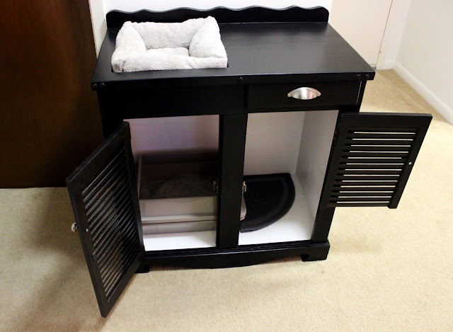 Upcycled kitty litter cupboard with drawer
