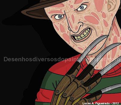 Desenho do Freddy Krueger, feito no Paint