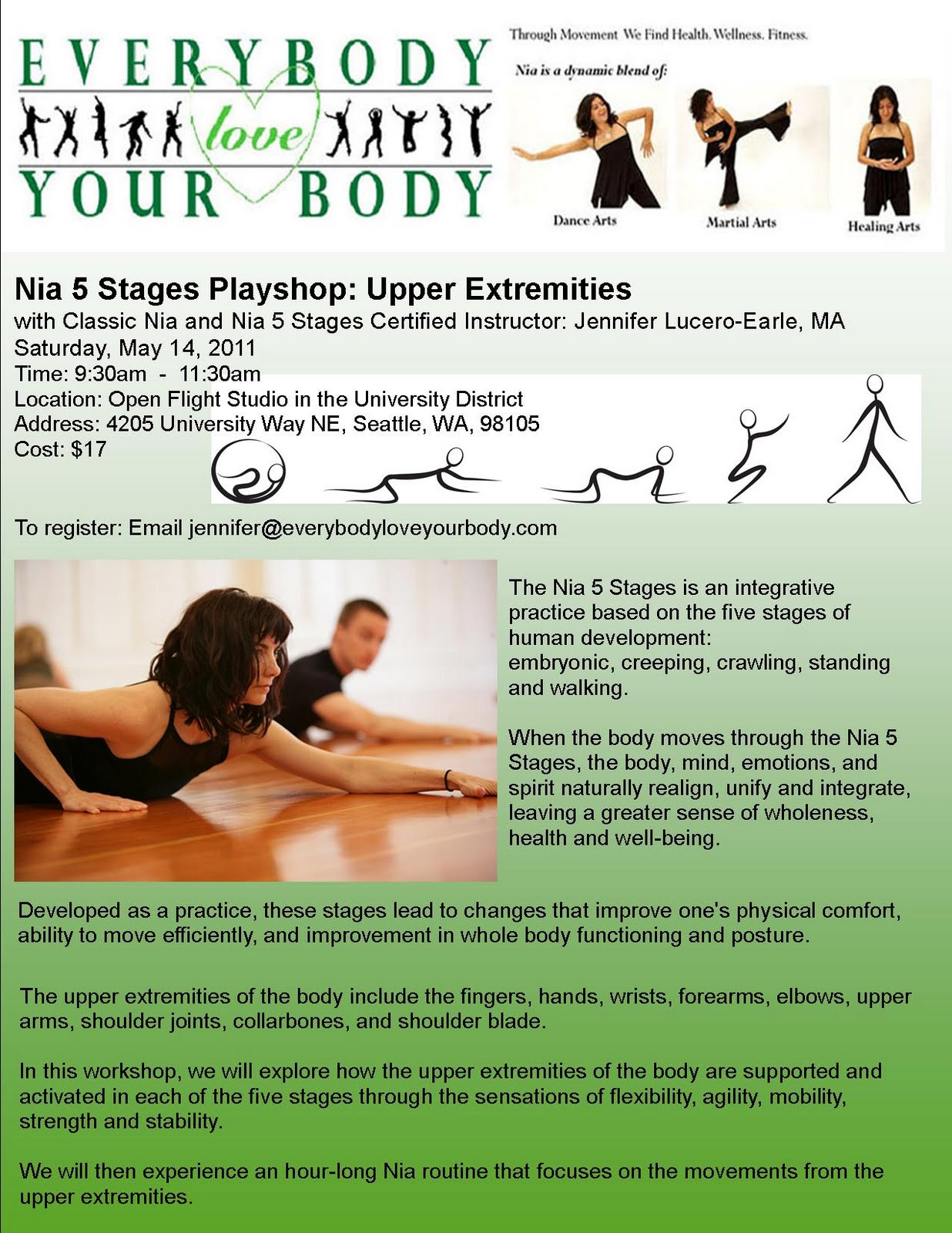 Everybody Love Your Body Nia Stages Playshop Upper Extremities - 5 stages everyone goes waking