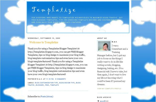 Free Art Graphics Clouds Blogger Theme Template