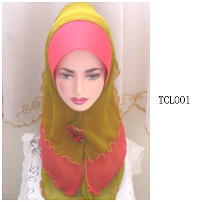 tudung chiffon 3 layer red coral