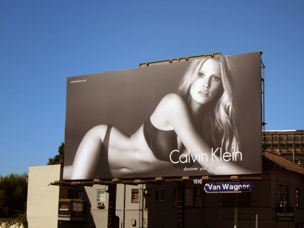 Lara Stone Calvin Klein Perfectly Fit bra billboard