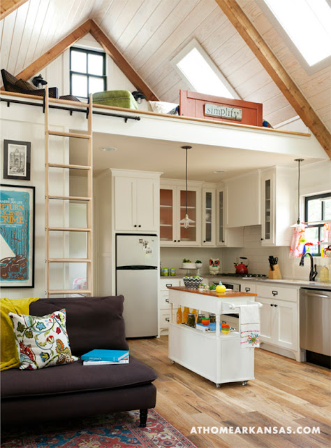Tiny House with cute kitchen and loft bed :: OrganizingMadeFun.com