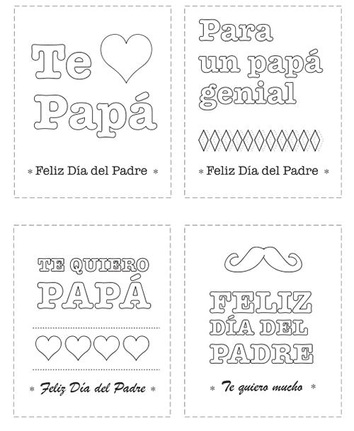 Dibujos para Colorear: Tarjetas del Día del Padre para colorear