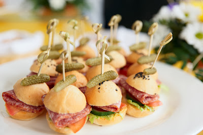 simple and super easy baby shower food ideas, dessert inspirations - canape salami buns