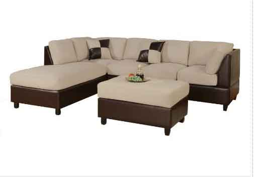 Crafted With Sturdy Hardwood Legs, The Cross Sectional Features Dark Brown  Faux Leather Covering Over Its Hardwood Frame. Plush Microfiber Covers  Adorn The ...
