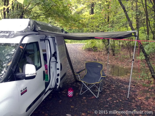 van with awning out after rain, allaben campsites, shandaken wild forest, new york