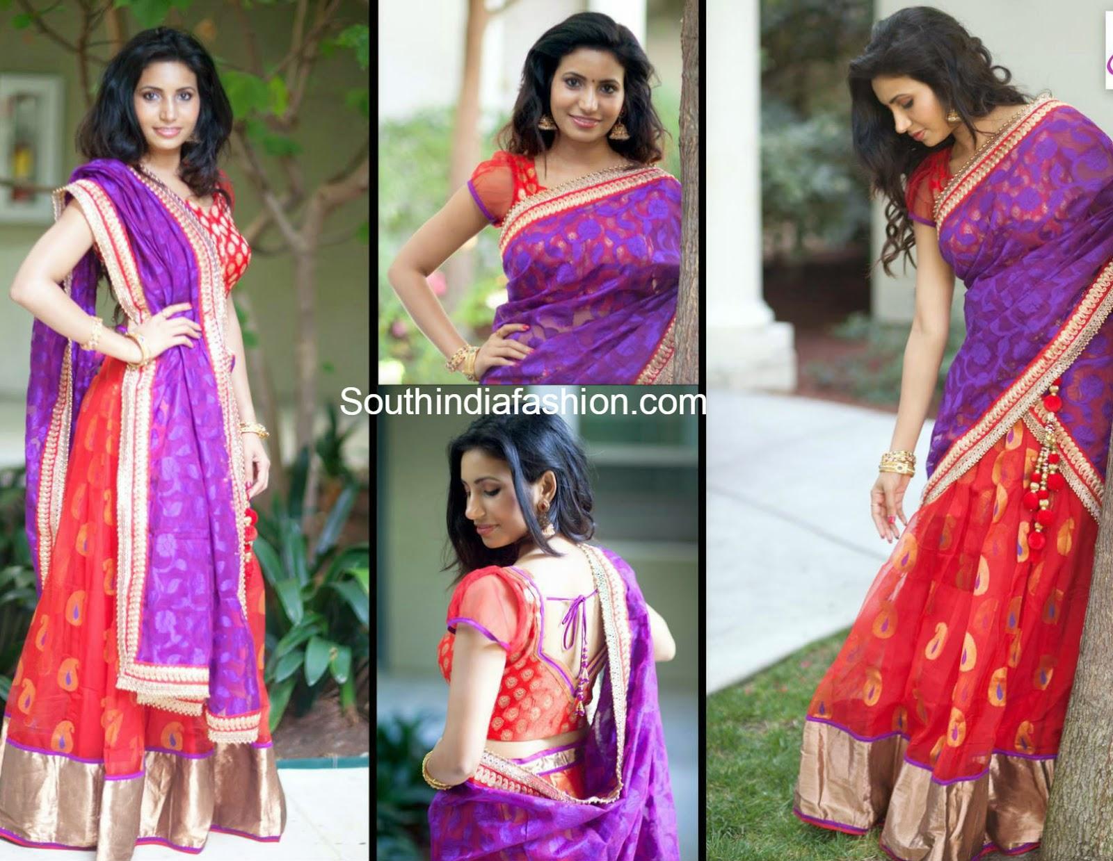 orange and purple half saree