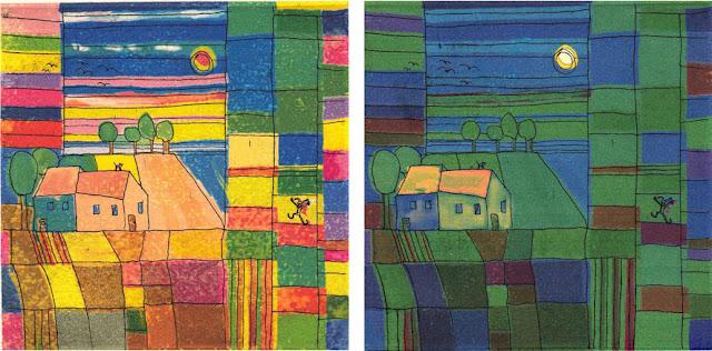 Peter Butschke - Pebu: Stilles Dorf - Radierungen/Strichätzung computercoloriert, 2013