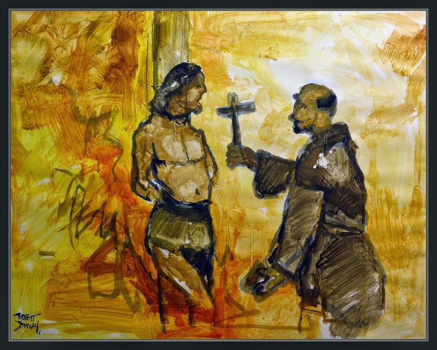 CONQUISTADORES ESPAÑOLES-AMERICA-PINTURA-ARTE-RELIGION-SACERDOTES-INQUISICION-GENOCIDIO-PINTOR-ERNEST DESCALS-
