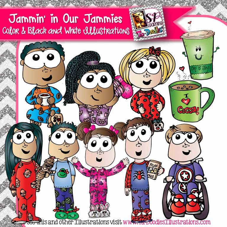 http://www.teacherspayteachers.com/Product/Kids-in-Pajamas-with-Cocoa-Clip-Art-1583990
