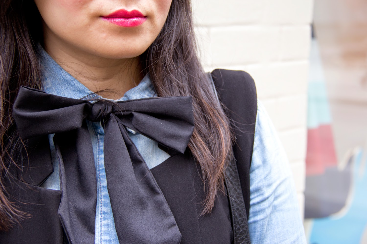 denim-on-denim, bow-tie,spring-outfit-look, Business-Casual