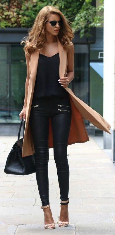 leather + coat
