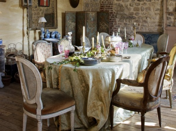 Dining Room Table with Tablecloth