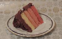 Ombre cake. Tarta de chocolate y frambuesa. Porción