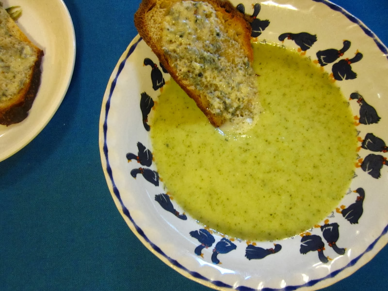 Broccoli Soup with Blue Cheese Toasts