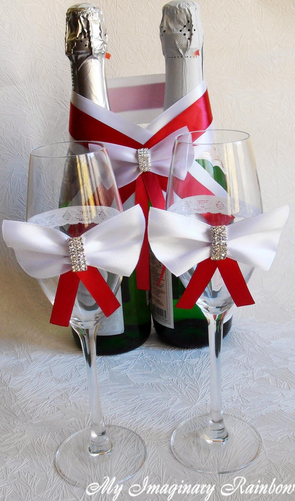 Оформление свадебных бокалов и бутылок своими руками, лепим, творим, малюем 54
