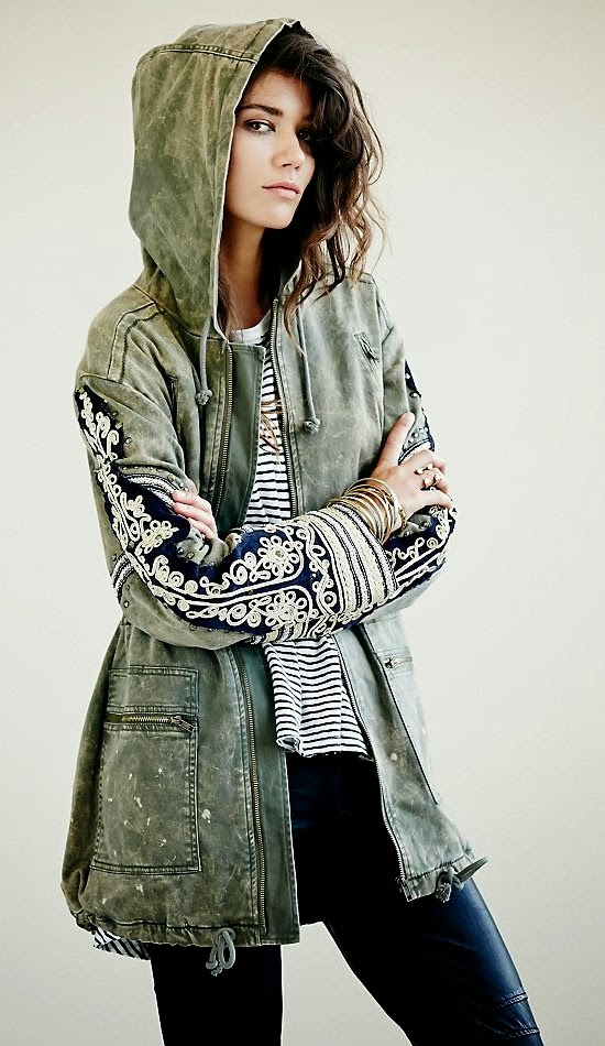 Fabulous Embroidered hooded Jacket and Stripes For Fall