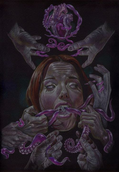 Dale Keogh illustrations dark grimm surreal bizarre perverted women tentacles claws