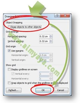 Gambar: Cara mengaktifkan, mengedit atau mengatur grid dan snap objects melalui dialog Drawing Grid di Microsoft Word