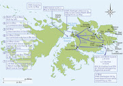 Guerra de las Malvinas: Mapa de campañha Ingles: Fonte Military History EEUU mhm small